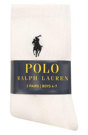 Детские комплект из трех пар носков POLO RALPH LAUREN белого цвета, арт. 443822163 | Фото 1