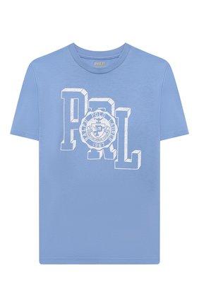 Детская хлопковая футболка POLO RALPH LAUREN голубого цвета, арт. 323850990 | Фото 1 (Рукава: Короткие; Материал внешний: Хлопок; Ростовка одежда: 13 - 15 лет | 158 см, 10 - 11 лет | 140 - 146см, 9 лет | 134 см, 16 лет | 164 см)