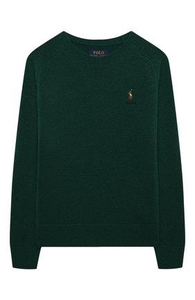 Детский шерстяной пуловер POLO RALPH LAUREN зеленого цвета, арт. 323850966 | Фото 1 (Рукава: Длинные; Материал внешний: Шерсть; Мальчики Кросс-КТ: Пуловер-одежда; Ростовка одежда: 13 - 15 лет | 158 см, 10 - 11 лет | 140 - 146см, 9 лет | 134 см, 16 лет | 164 см)