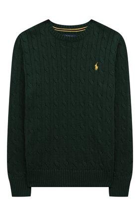 Детский хлопковый пуловер POLO RALPH LAUREN зеленого цвета, арт. 323702674 | Фото 1 (Материал внешний: Хлопок; Мальчики Кросс-КТ: Пуловер-одежда; Рукава: Длинные; Ростовка одежда: 13 - 15 лет | 158 см, 10 - 11 лет | 140 - 146см, 9 лет | 134 см, 16 лет | 164 см)