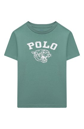 Детская хлопковая футболка POLO RALPH LAUREN зеленого цвета, арт. 321850990 | Фото 1