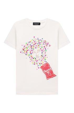 Детская хлопковая футболка VERSACE белого цвета, арт. 1000052/1A00557/8A-14A | Фото 1