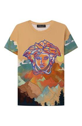 Детская хлопковая футболка VERSACE разноцветного цвета, арт. 1000129/1A00427/4A-6A | Фото 1