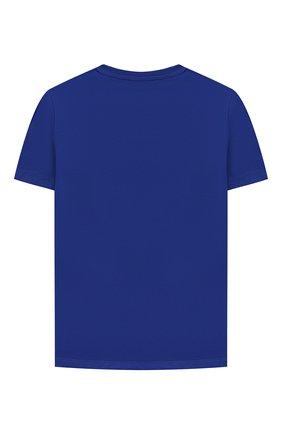 Детская хлопковая футболка VERSACE синего цвета, арт. 1000129/1A01382/4A-6A | Фото 2