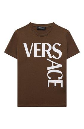 Детская хлопковая футболка VERSACE хаки цвета, арт. 1000239/1A01330/4A-6A | Фото 1