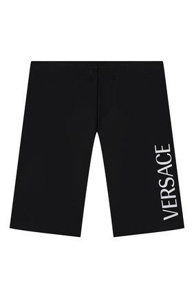 Детские шорты VERSACE черного цвета, арт. 1000431/1A01407/4A-6A   Фото 1 (Материал внешний: Синтетический материал; Девочки Кросс-КТ: Шорты-одежда, Шорты-спорт)
