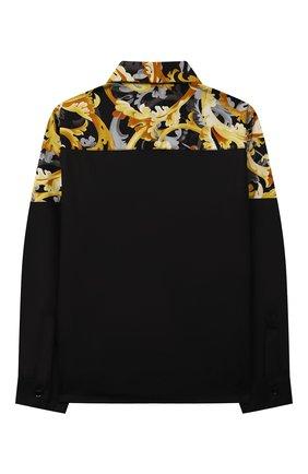 Детская хлопковая рубашка VERSACE черного цвета, арт. 1000575/1A01345/8A-14A | Фото 2 (Материал внешний: Хлопок; Рукава: Длинные; Случай: Повседневный; Ростовка одежда: 10 - 11 лет | 140 - 146см, 12 лет | 152 см, 16 лет | 164 см, 8 лет | 128 см)