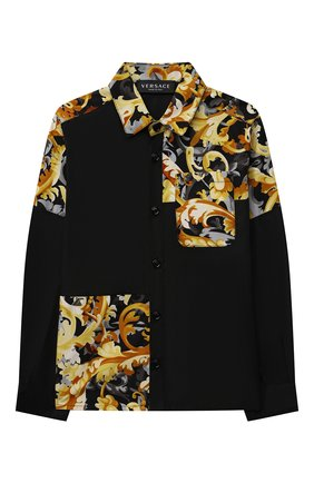 Детская хлопковая рубашка VERSACE черного цвета, арт. 1000575/1A01345/4A-6A | Фото 1