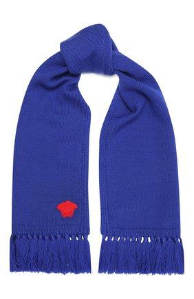Детский шерстяной шарф VERSACE синего цвета, арт. 1001655/1A01314 | Фото 1