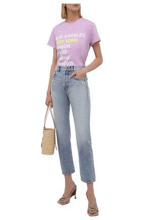 Женская хлопковая футболка SEVEN LAB сиреневого цвета, арт. T21-nEW YORK lavender   Фото 2