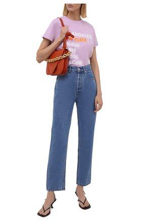 Женская хлопковая футболка SEVEN LAB сиреневого цвета, арт. T21-nEW YORK GO lavender   Фото 2
