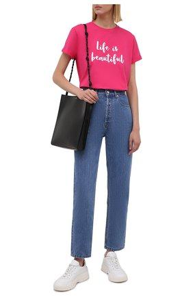 Женская хлопковая футболка SEVEN LAB фуксия цвета, арт. T-LIB G01 fuchsia   Фото 2