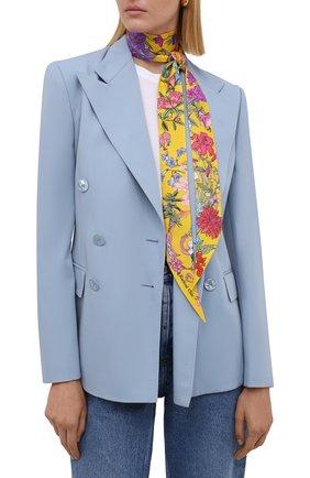 Женский шелковый шарф-бандо 100 flowers RADICAL CHIC желтого цвета, арт. 402675.21.17   Фото 2
