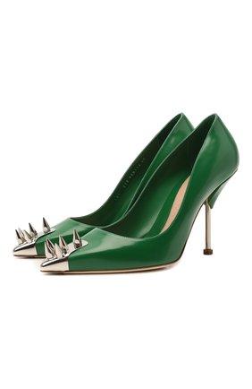 Женские кожаные туфли ALEXANDER MCQUEEN зеленого цвета, арт. 658172/WHV7B | Фото 1