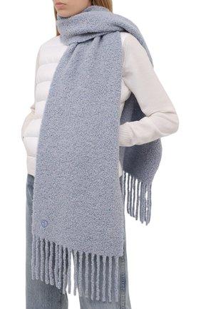 Женский шерстяной шарф GIORGIO ARMANI серо-голубого цвета, арт. 795008/1A147 | Фото 2
