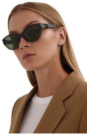 Женские солнцезащитные очки LORO PIANA темно-зеленого цвета, арт. FAL4776 | Фото 2 (Тип очков: С/з; Очки форма: Овальные)