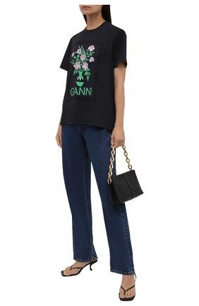Женская хлопковая футболка GANNI темно-серого цвета, арт. T2800   Фото 2