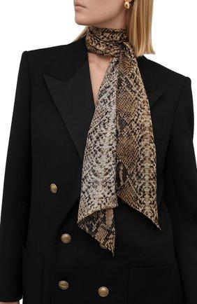 Женский шелковый шарф RALPH LAUREN коричневого цвета, арт. 434867920 | Фото 2