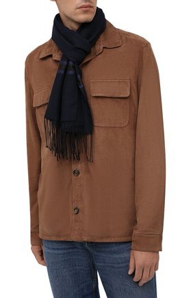 Мужской шарф из шерсти и шелка CORNELIANI темно-синего цвета, арт. 88B131-1829054/00   Фото 2