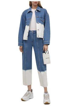 Женская джинсовая куртка STELLA MCCARTNEY голубого цвета, арт. 603705/S0H45 | Фото 2 (Длина (верхняя одежда): Короткие; Рукава: Длинные; Материал внешний: Хлопок; Стили: Спорт-шик; Кросс-КТ: Деним, Куртка)