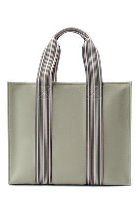 Женский сумка-шопер suitcase stripe LORO PIANA светло-зеленого цвета, арт. FAL2357 | Фото 1 (Материал: Текстиль; Сумки-технические: Сумки-шопперы; Размер: large)