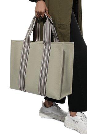Женский сумка-шопер suitcase stripe LORO PIANA светло-зеленого цвета, арт. FAL2357 | Фото 2 (Материал: Текстиль; Сумки-технические: Сумки-шопперы; Размер: large)