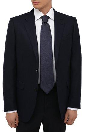 Мужской шелковый галстук ERMENEGILDO ZEGNA темно-синего цвета, арт. Z2D20T/1XW | Фото 2 (Материал: Шелк, Текстиль; Принт: Без принта)