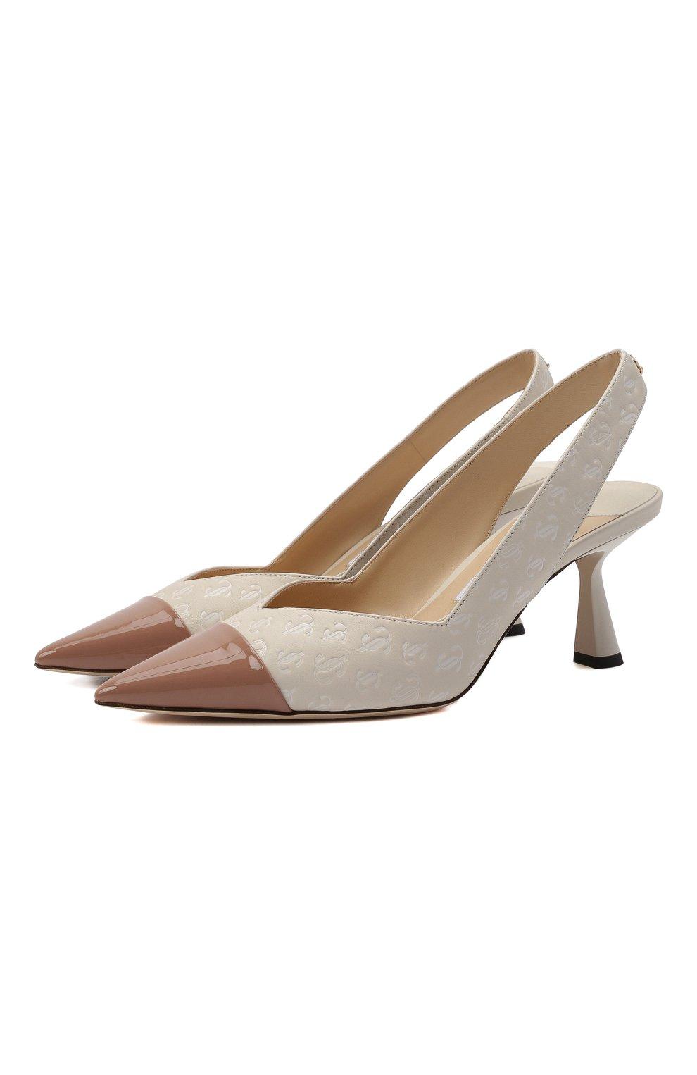Женские кожаные туфли liya 65 JIMMY CHOO кремвого цвета, арт. LIYA 65/ZY0 | Фото 1 (Материал внутренний: Натуральная кожа; Каблук высота: Средний; Каблук тип: Шпилька; Подошва: Плоская)