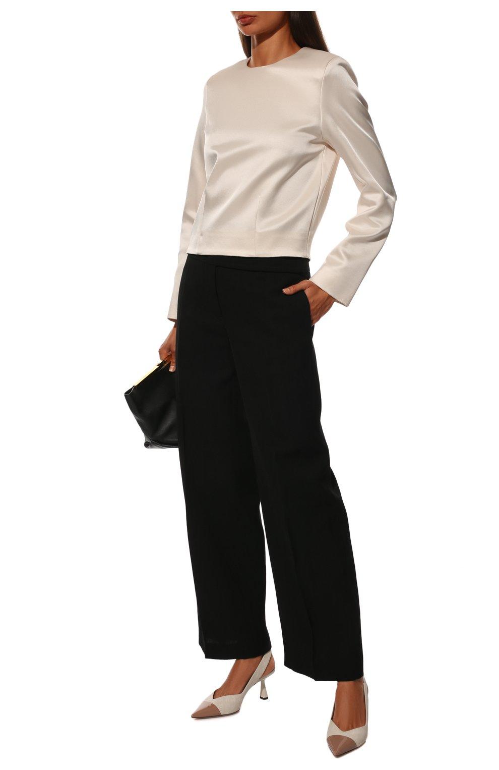 Женские кожаные туфли liya 65 JIMMY CHOO кремвого цвета, арт. LIYA 65/ZY0 | Фото 2 (Материал внутренний: Натуральная кожа; Каблук высота: Средний; Каблук тип: Шпилька; Подошва: Плоская)