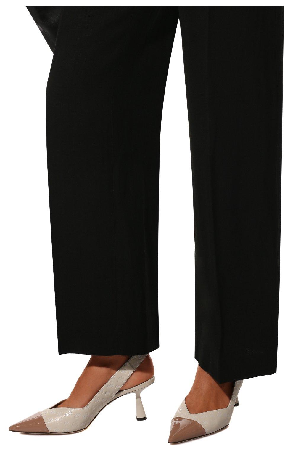 Женские кожаные туфли liya 65 JIMMY CHOO кремвого цвета, арт. LIYA 65/ZY0 | Фото 3 (Материал внутренний: Натуральная кожа; Каблук высота: Средний; Каблук тип: Шпилька; Подошва: Плоская)