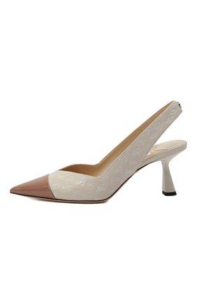 Женские кожаные туфли liya 65 JIMMY CHOO кремвого цвета, арт. LIYA 65/ZY0 | Фото 4 (Материал внутренний: Натуральная кожа; Каблук высота: Средний; Каблук тип: Шпилька; Подошва: Плоская)