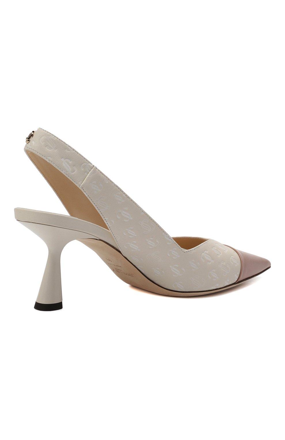Женские кожаные туфли liya 65 JIMMY CHOO кремвого цвета, арт. LIYA 65/ZY0 | Фото 5 (Материал внутренний: Натуральная кожа; Каблук высота: Средний; Каблук тип: Шпилька; Подошва: Плоская)