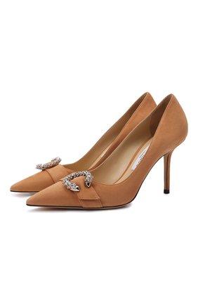 Женские замшевые туфли saresa 85 JIMMY CHOO бежевого цвета, арт. SARESA 85/SUE | Фото 1