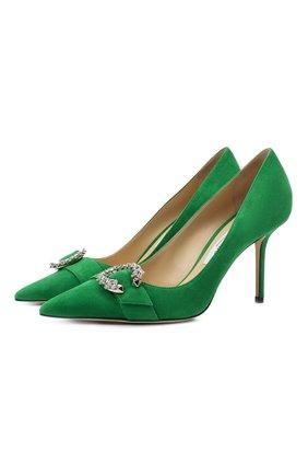 Женские замшевые туфли saresa 85 JIMMY CHOO зеленого цвета, арт. SARESA 85/SUE | Фото 1