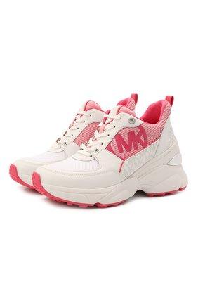 Женские комбинированные кроссовки mickey MICHAEL MICHAEL KORS розового цвета, арт. 43T1MKFS4D | Фото 1