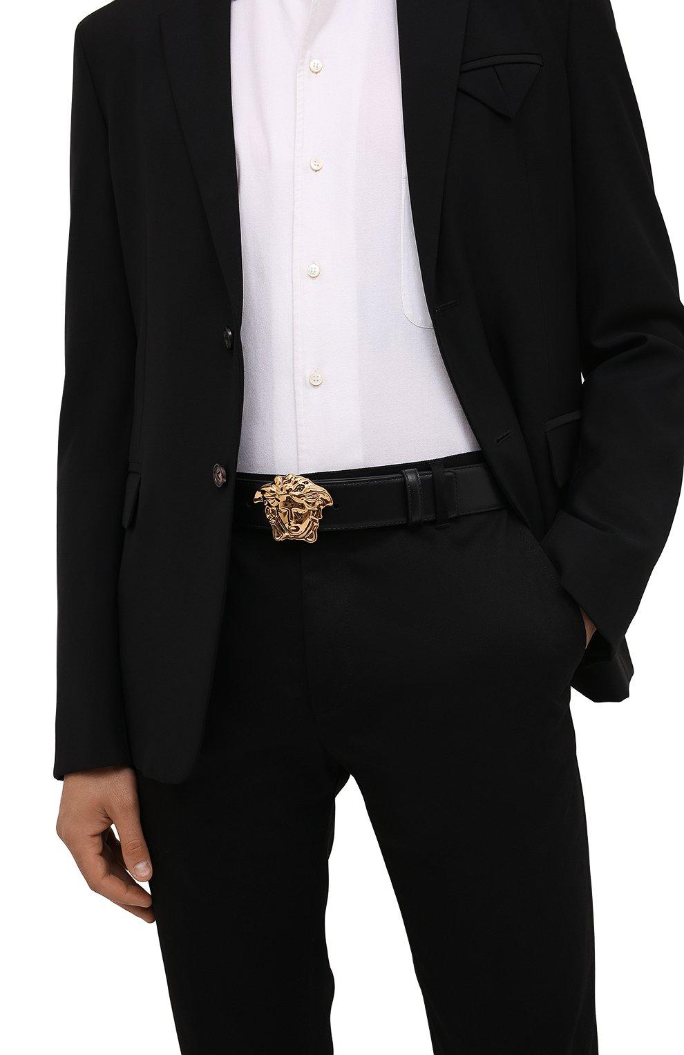 Мужской кожаный ремень VERSACE черного цвета, арт. 1001340/DVTP1 | Фото 2 (Случай: Повседневный)