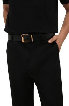 Мужской кожаный ремень VERSACE черного цвета, арт. 1001065/1A00723 | Фото 2 (Случай: Повседневный)