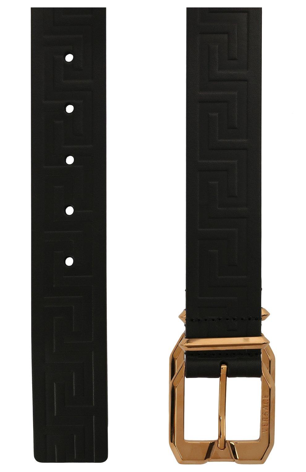 Мужской кожаный ремень VERSACE черного цвета, арт. 1001065/1A00723   Фото 3 (Случай: Повседневный)