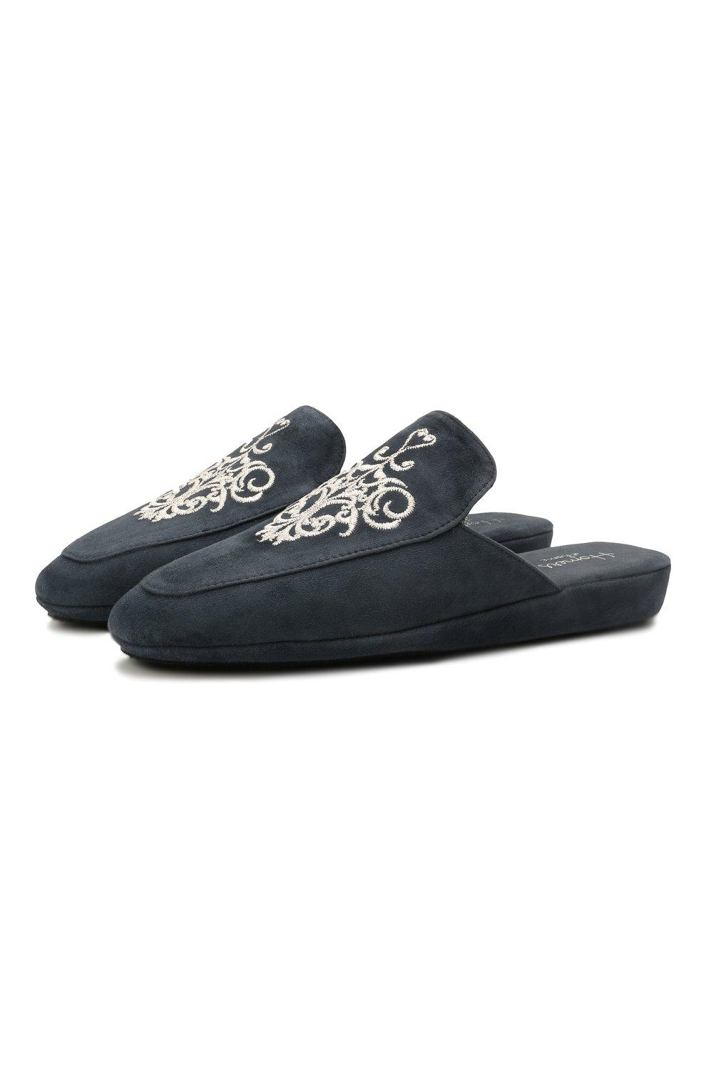 Женского домашние туфли из замши HOMERS AT HOME темно-синего цвета, арт. 18482A/ANTE | Фото 1 (Подошва: Платформа; Материал внутренний: Натуральная кожа; Женское Кросс-КТ: тапочки-домашняя обувь)