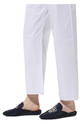 Женского домашние туфли из замши HOMERS AT HOME темно-синего цвета, арт. 18482A/ANTE | Фото 3 (Подошва: Платформа; Материал внутренний: Натуральная кожа; Женское Кросс-КТ: тапочки-домашняя обувь)