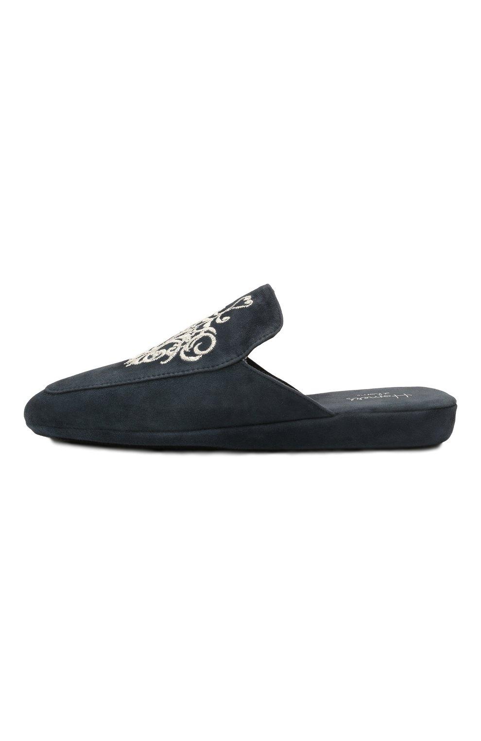 Женского домашние туфли из замши HOMERS AT HOME темно-синего цвета, арт. 18482A/ANTE | Фото 4 (Подошва: Платформа; Материал внутренний: Натуральная кожа; Женское Кросс-КТ: тапочки-домашняя обувь)
