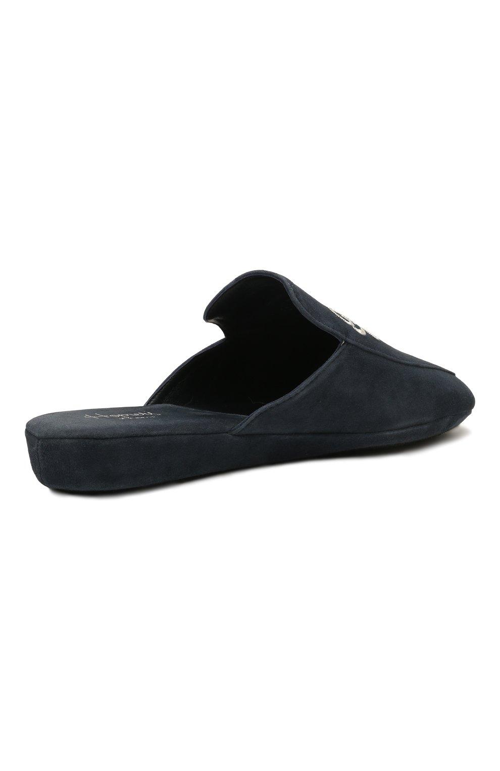 Женского домашние туфли из замши HOMERS AT HOME темно-синего цвета, арт. 18482A/ANTE | Фото 5 (Подошва: Платформа; Материал внутренний: Натуральная кожа; Женское Кросс-КТ: тапочки-домашняя обувь)