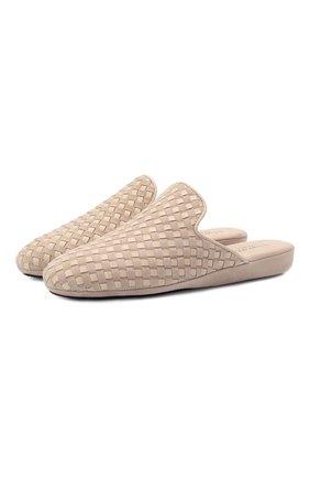 Женского домашние туфли из замши HOMERS AT HOME светло-бежевого цвета, арт. 19183R/ANTE | Фото 1 (Материал внутренний: Натуральная кожа; Женское Кросс-КТ: тапочки-домашняя обувь; Подошва: Платформа)