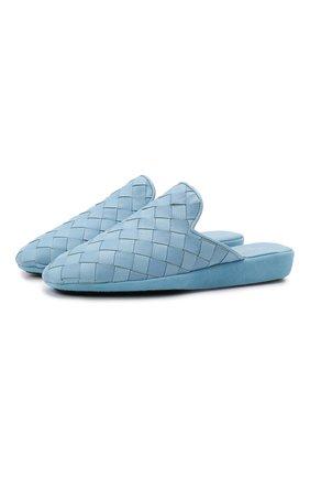 Женского кожаные домашние туфли HOMERS AT HOME голубого цвета, арт. 20212A/BUFALIN0 | Фото 1