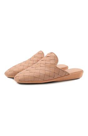 Женского кожаные домашние туфли HOMERS AT HOME бежевого цвета, арт. 20212A/BUFALIN0   Фото 1
