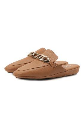 Женского кожаные домашние туфли HOMERS AT HOME коричневого цвета, арт. 20418R/BUFALIN0   Фото 1