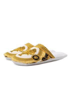Женского текстильные домашние туфли VERSACE белого цвета, арт. ZSLP00002/ZC0SP094   Фото 1
