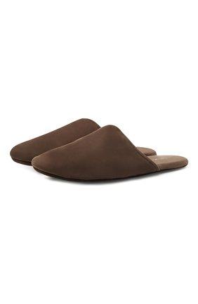 Мужского замшевые домашние туфли HOMERS AT HOME коричневого цвета, арт. 14289/ANTE | Фото 1 (Материал внутренний: Натуральная кожа; Материал внешний: Замша; Мужское Кросс-КТ: тапочки-обувь)