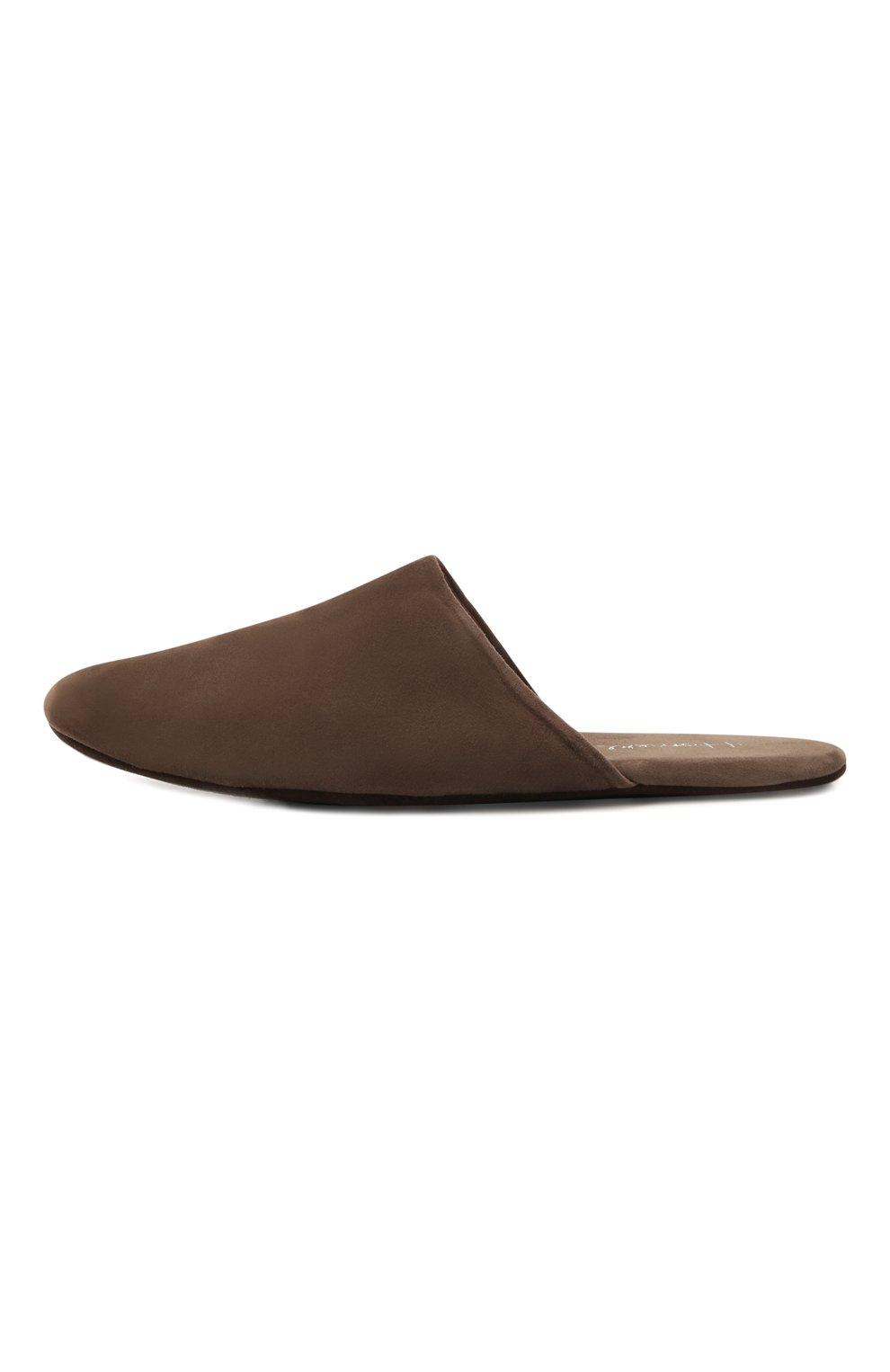 Мужского замшевые домашние туфли HOMERS AT HOME коричневого цвета, арт. 14289/ANTE | Фото 3 (Материал внутренний: Натуральная кожа; Материал внешний: Замша; Мужское Кросс-КТ: тапочки-обувь)