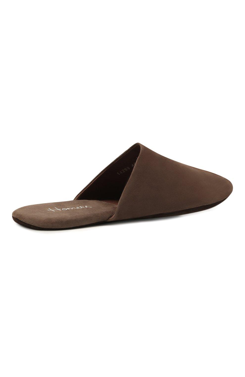 Мужского замшевые домашние туфли HOMERS AT HOME коричневого цвета, арт. 14289/ANTE | Фото 4 (Материал внутренний: Натуральная кожа; Материал внешний: Замша; Мужское Кросс-КТ: тапочки-обувь)